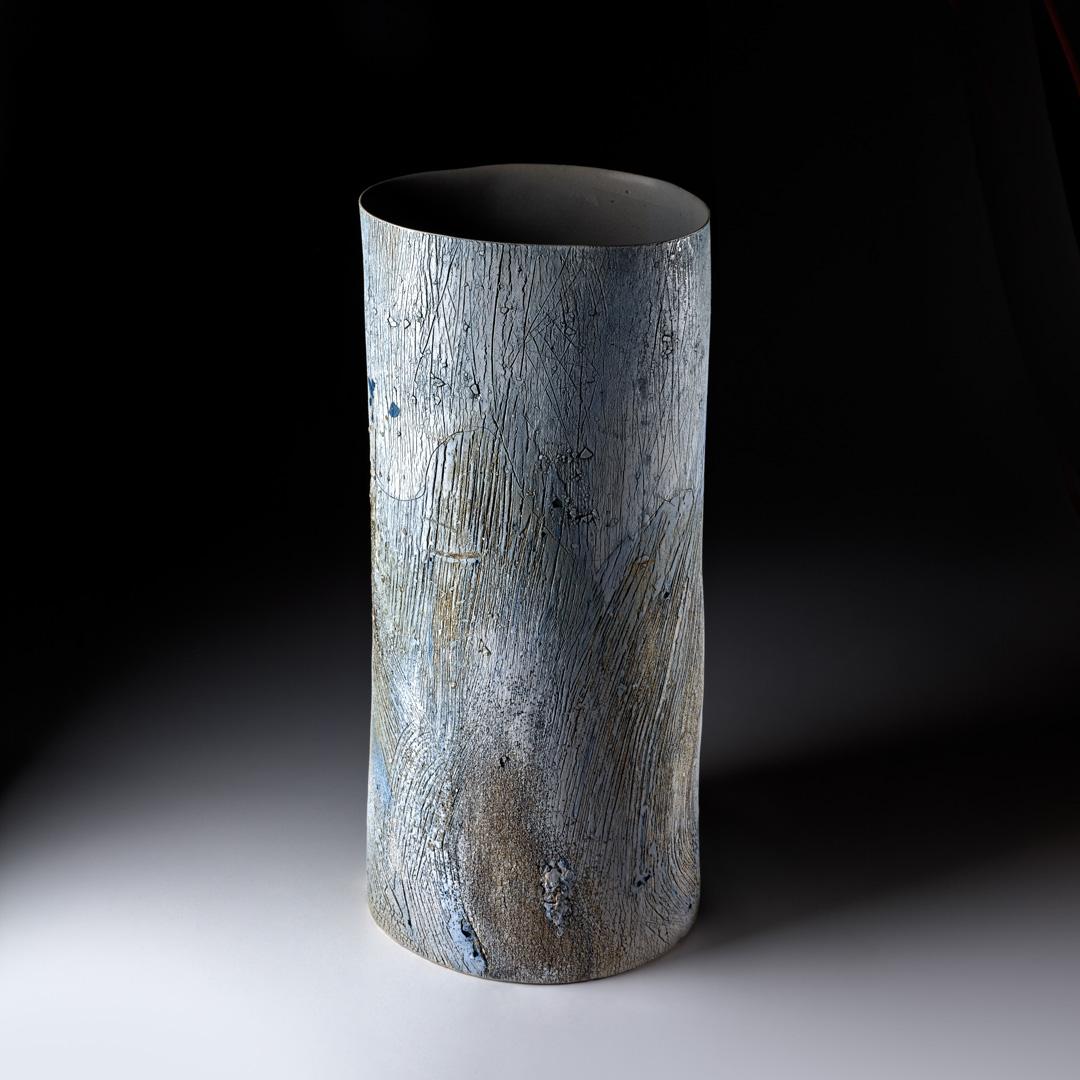 Strukturgefäß  H 50,3 cm D 23,3 cm; Steinzeug; Reduktionsbrand 1280° C, 2015;