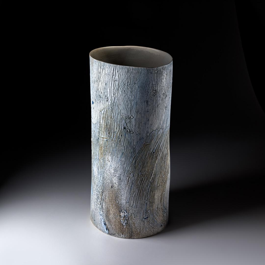 Strukturgefäß; H 50; 3 cm D 23; 3 cm; Steinzeug; 2016; Reduktionsbrand 1280° C; 2015
