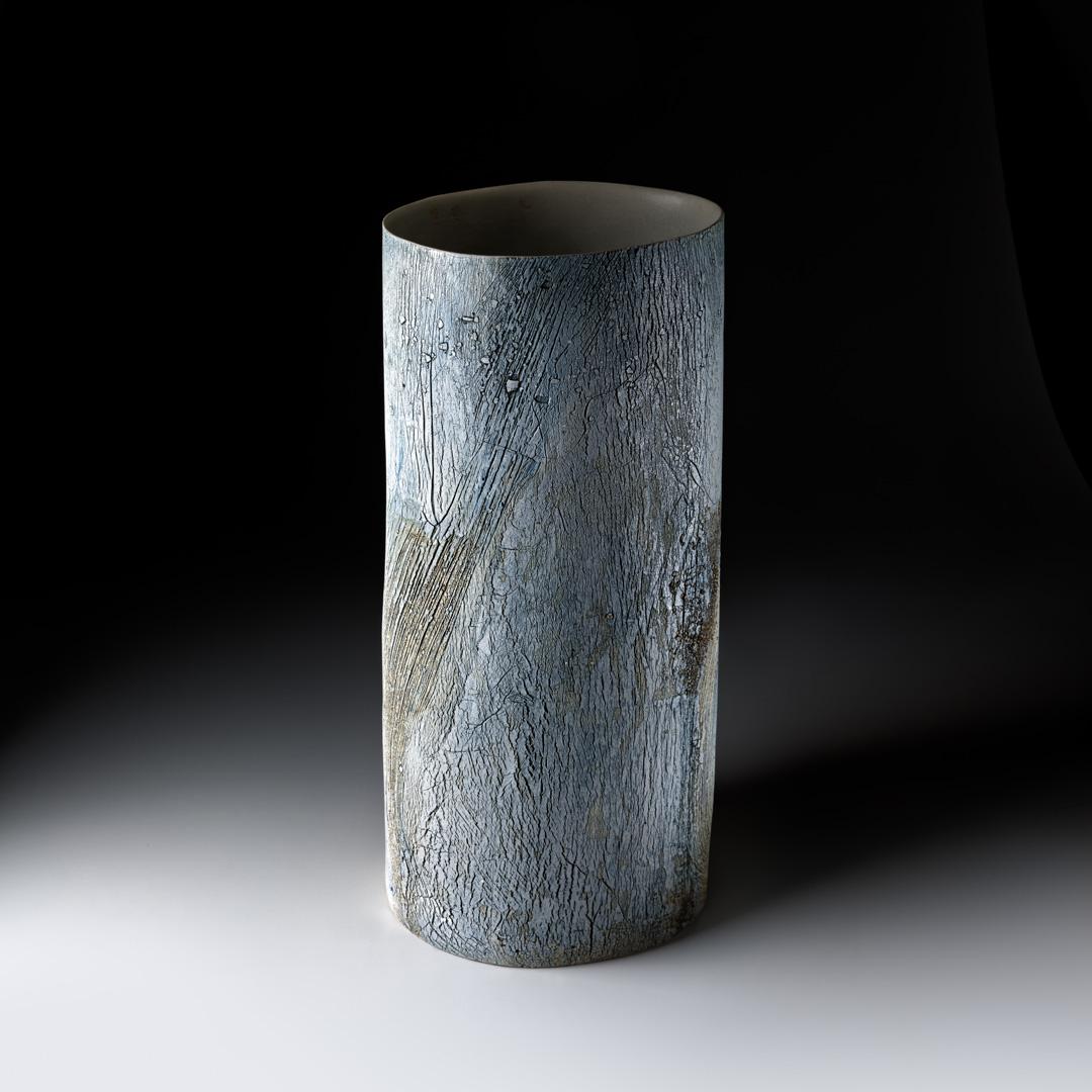 Strukturgefäß  H 50,3 cm D 23,3 cm; Steinzeug; 2016;