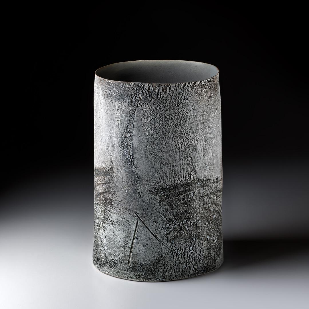 Strukturgefäß  H 35,7 cm D 21,5 cm; Steinzeug; Reduktionsbrand; 2015;